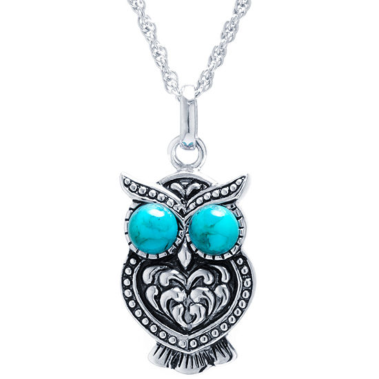 Enhanced Turquoise Sterling Silver Owl Pendant Necklace