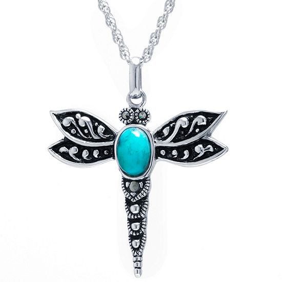 Dragon Fly Womens Enhanced Blue Turquoise Sterling Silver Pendant Necklace