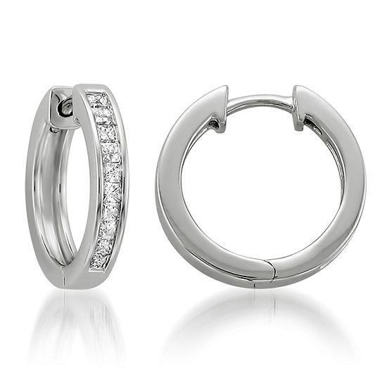 1/2 CT. T.W. White Diamond 14K Gold 14.6mm Hoop Earrings