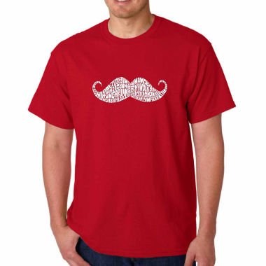 Los Angeles Pop Art Ways to Style a Moustache Short Sleeve Word Art T-Shirt - Big and Tall