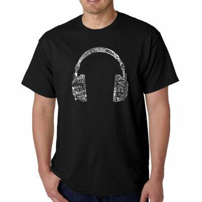Los Angeles Pop Art Headphones Language Short Sleeve Word Art T-Shirt-Men's Big and Tall
