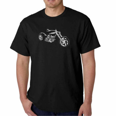 Los Angeles Pop Art Motorcycle Short Sleeve Word Art T-Shirt - Big and Tall