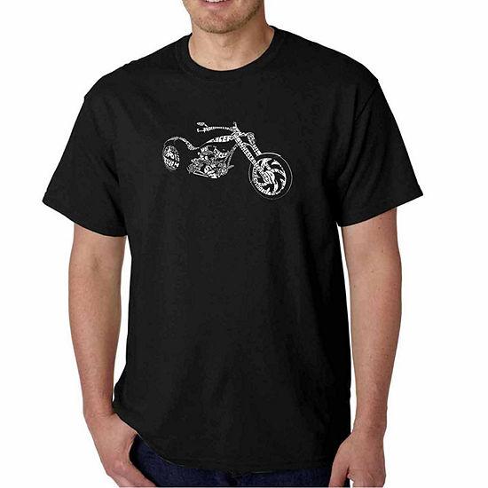 Los Angeles Pop Art Motorcycle Short Sleeve Word Art T-Shirt - Big and Tall
