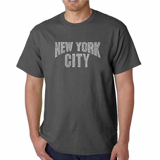 Los Angeles Pop Art NYC Neighborhoods Short SleeveWord Art T-Shirt - Big and Tall