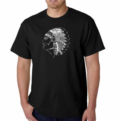 Los Angeles Pop Art Popular Native American IndianTribes Short Sleeve Word Art T-Shirt - Big and Tall
