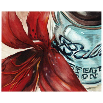 Mason Jar With Red Flower Wrapped Canvas Wall Art