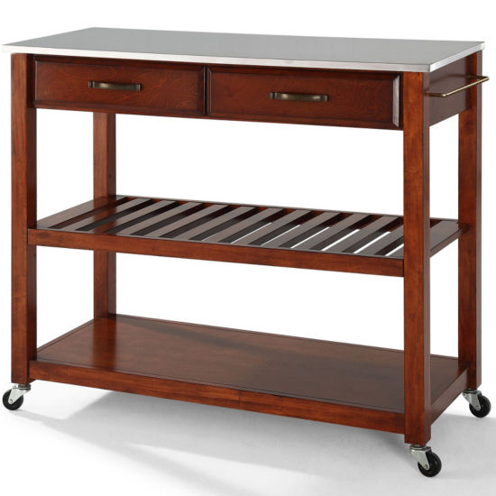 Geary Stainless Steel-Top Kitchen Island