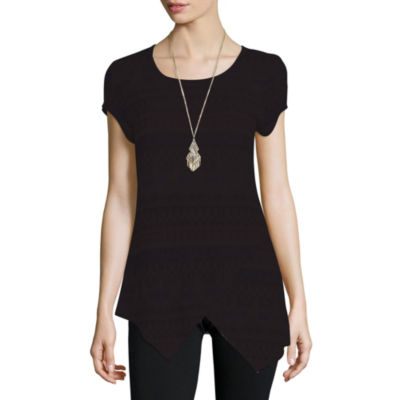 Alyx® Cap-Sleeve Tunic Top with Necklace