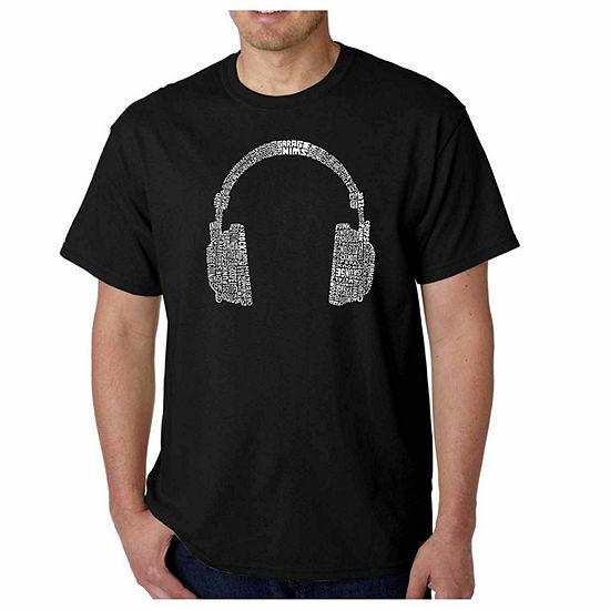 Los Angeles Pop Art Genres of Music Short Sleeve Word Art T-Shirt-Men's Big and Tall