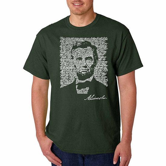 Los Angeles Pop Art Abraham Lincoln Short Sleeve Word Art T-Shirt-Men's Big and Tall
