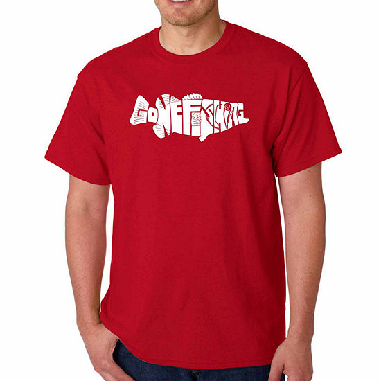 Los Angeles Pop Art Gone Fishing Short Sleeve WordArt T-Shirt - Big and Tall
