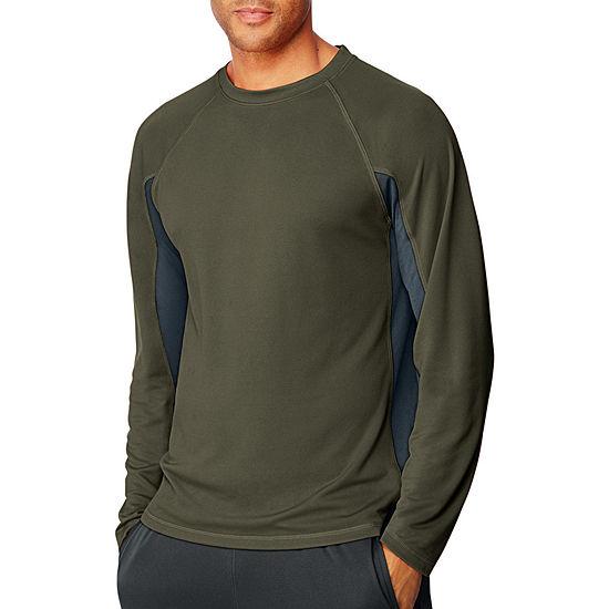 Hanes Mens Crew Neck Long Sleeve Moisture Wicking T-Shirt