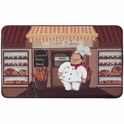 Chef Gear Happy Chef Faux-Leather Anti-Fatigue Cushioned Kitchen Mat