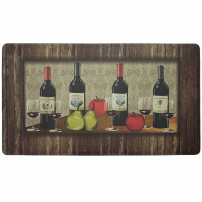 Chef Gear Sophisticated Wine with Border Anti-Fatigue Gelness Comfort Kitchen Mat