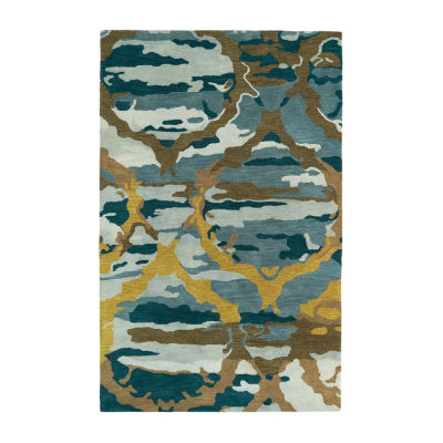 Kaleen Brushstrokes Ogee Hand-Tufted Wool Rectangular Rug