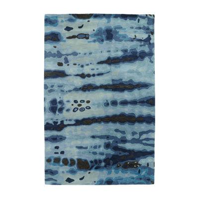 Kaleen Brushstrokes Tie-Dye Waves Hand-Tufted Wool Rectangular Rug