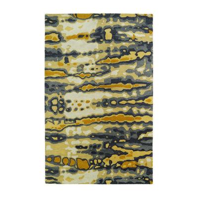 Kaleen Brushstrokes Tie-Dye Waves Hand-Tufted WoolRectangular Rug