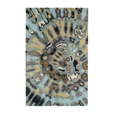 Kaleen Brushstrokes Tie-Dye Medallion Hand-TuftedWool Rectangular Rug