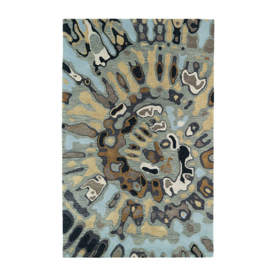 Kaleen Brushstrokes Tie-Dye Medallion Hand-Tufted Wool Rectangular Rug