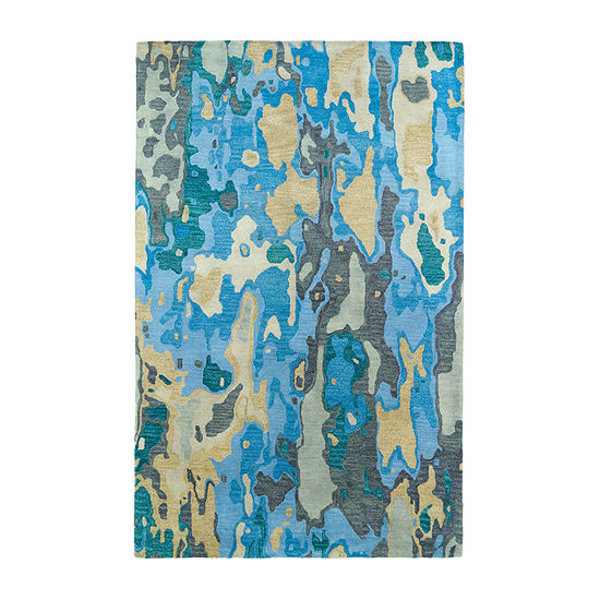 Kaleen Brushstrokes Watercolor Hand-Tufted Wool Rectangular Rug