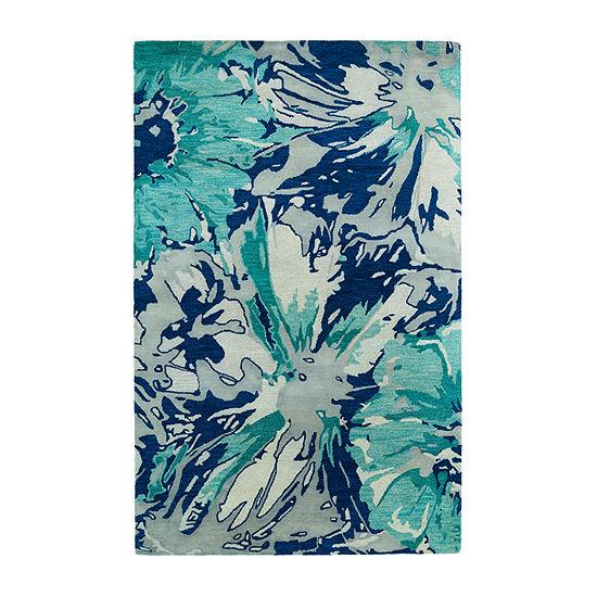 Kaleen Brushstrokes Floral Hand-Tufted Wool Rectangular Rug
