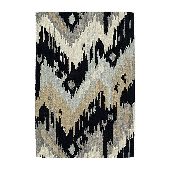 Kaleen Casual Ikat Hand-Tufted Wool Rectangular Rug