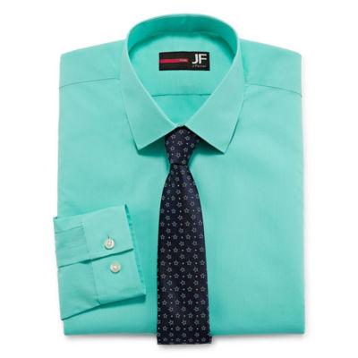 JF J.Ferrar Slim  Fit Dress Shirt And Tie Set Mens Spread Collar Long Sleeve Shirt + Tie Set Slim