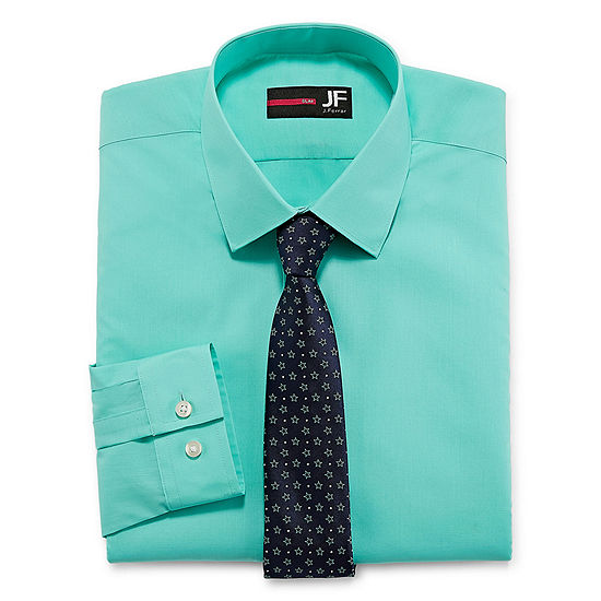 JF J.Ferrar Slim  Fit Dress Shirt And Tie Set Mens Spread Collar Long Sleeve Shirt + Tie Set Slim