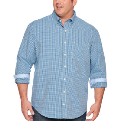 IZOD Sportflex Natural Stretch Gingham Woven Long Sleeve Button-Front Shirt-Big and Tall