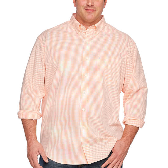 IZOD Long Sleeve Sportflex Natural Stretch Gingham Woven Long Sleeve Gingham Button-Front Shirt-Big and Tall