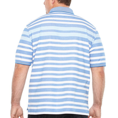 IZOD Short Sleeve Natural Stretch Stripe Knit Polo- Big & Tall