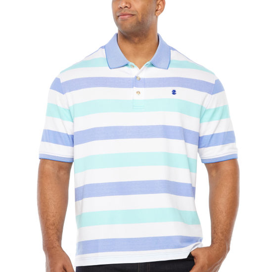 IZOD Short Sleeve Natural Stretch Striped Knit Polo Shirt - Big and Tall