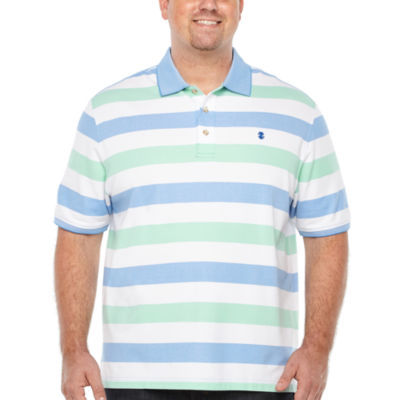 IZOD Short Sleeve Natural Stretch Striped Polo Short Sleeve Stripe Knit Polo Shirt Big and Tall
