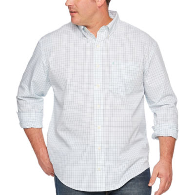 IZOD Long Sleeve Plaid Button-Front Shirt-Big and Tall