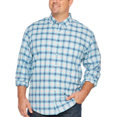 IZOD Long Sleeve Plaid Oxford Woven Button-Front Shirt-Big and Tall
