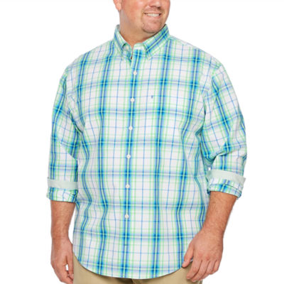 IZOD Ls Natural Stretch Multi Color Plaid Woven Long Sleeve Plaid Button-Front Shirt-Big and Tall