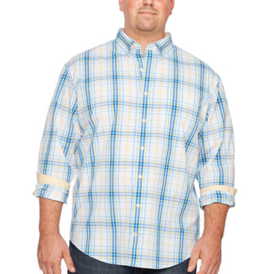 IZOD Natural Stretch Plaid Woven Long Sleeve Plaid Button-Front Shirt-Big and Tall