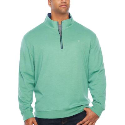 IZOD Long Sleeve Heavy Weight Interlock Quarter-Zip Pullover Big and Tall
