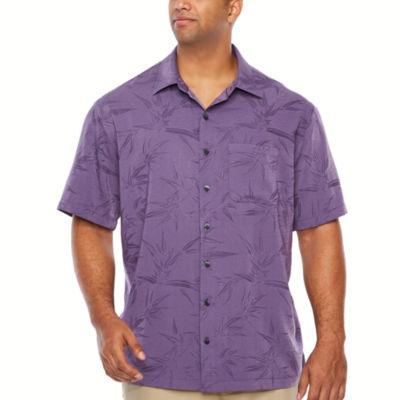 Van Heusen Air Jaquard Print Short Sleeve Button-Front Shirt-Big and Tall