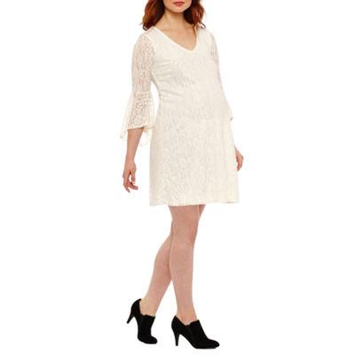 Tiana B Ruffle Sleeve Lace Dress - Maternity