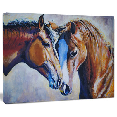 Designart Brown Amorous Horses Animal Canvas Art Print