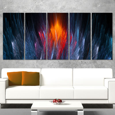 Design Art Fractal Fire In Light Blue Abstract Canvas Art Print - 5 Panels