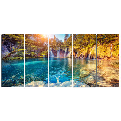 Designart Turquoise Water And Sunny Beams Landscape Photography Canvas Print - 5 Panels