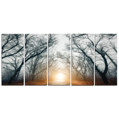 Designart Scary Forest With Yellow Light LandscapePhotography Canvas Print - 5 Panels