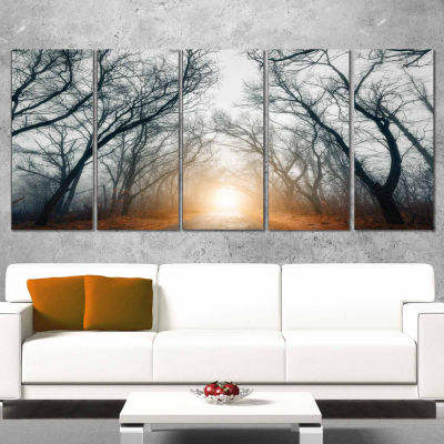 Design Art Scary Forest With Yellow Light Landscape Photography Canvas Print - 5 Panels
