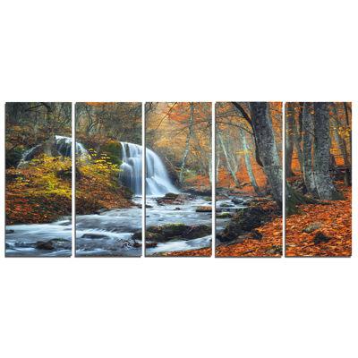 Design Art Autumn Mountain Waterfall Landscape Photo Canvas Art Print - 5 Panels