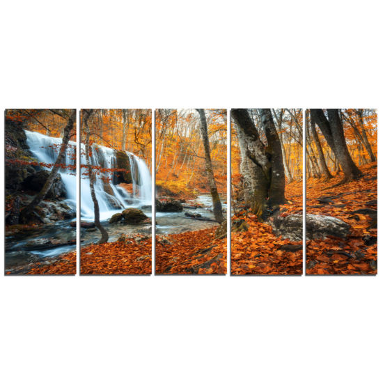 Designart Autumn Mountain Waterfall Close View Landscape Photography Canvas Print - 5 Panels