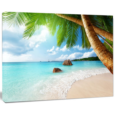 Design Art Praslin Island Seychelles Beach Seashore Photo Canvas Print