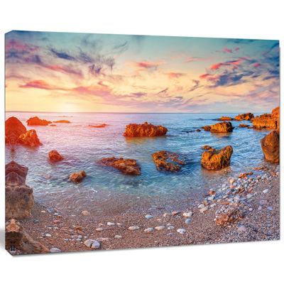 Designart Mediterranean Sea Sunrise Seashore Photography Canvas Print