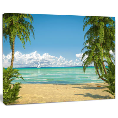 Designart Palms At Caribbean Beach Seashore PhotoCanvas Art Print